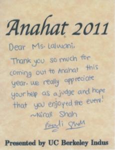 Judge at an A-capella Music Competition Anahat - Berkeley - Priyanka Lalwani